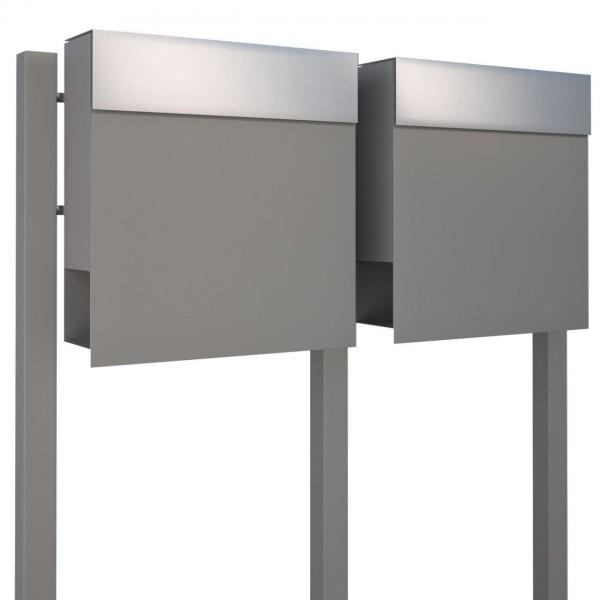 Briefkasten, Design Briefkastenanlage Grau Metallic/Edelstahl