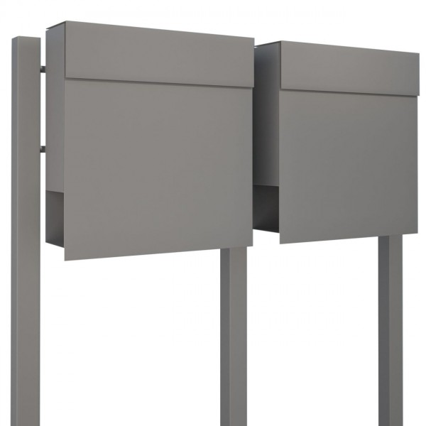 Briefkastenanlage Design Briefkasten Manhattan For Two Grau Metallic