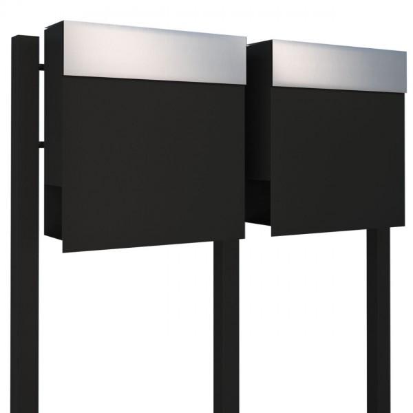 Briefkasten, Design Briefkastenanlage Schwarz/Edelstahl