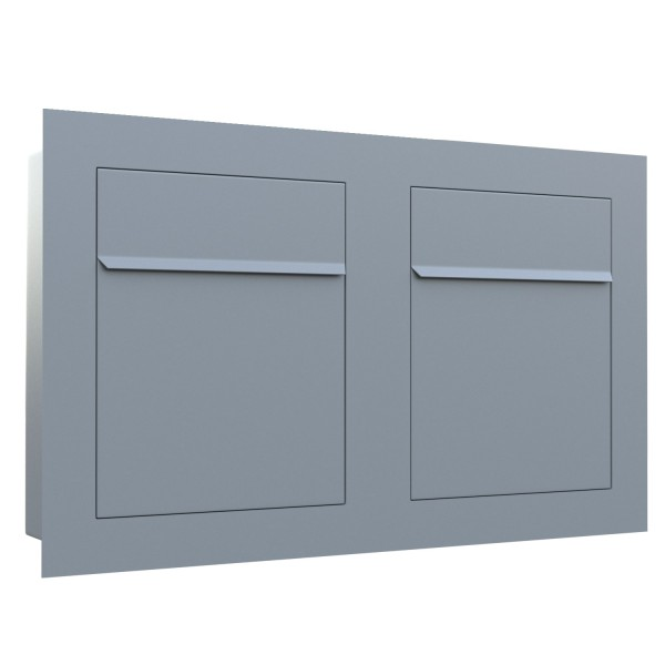 Unterputz Briefkasten - Einbaubriefkasten Bari for Two in Grau Metallic