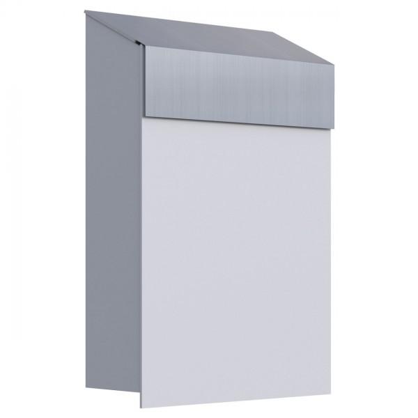 Briefkasten Baby Box Weiß mit Edelstahlklappe
